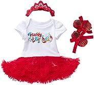 Marlegard Baby Girls' 3PCs 1st Birthday Bling Stars Tutu Dress Crown Headband S