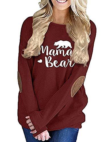 Springrainfu Women's Tunic Top Long Sleeve T-Shirt Casual Loose Cute Sweatshirt (Wine Red, XL) (Long Length Sweaters To Wear With Leggings)