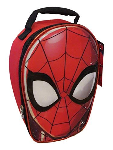 Marvel Spider-man Face Shaped Insulated Lunch Box Black and Red]()