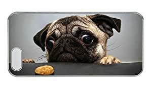 Hipster iphone 5S case crazy Pug Cookie PC Transparent for Apple iPhone 5/5S