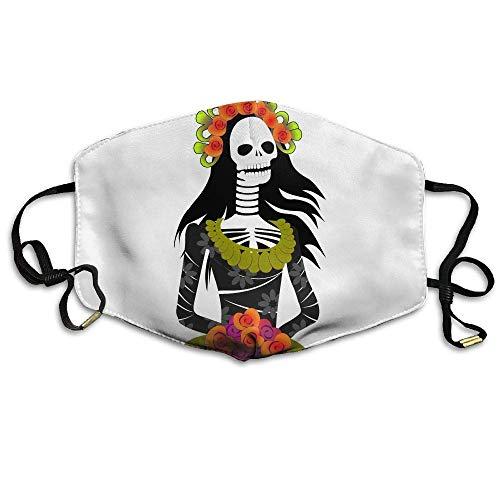 shengshilande Woman Floral Skeleton Mouth Mask Ear-Loop Dust Mouth Mask Outdoor Breathable -