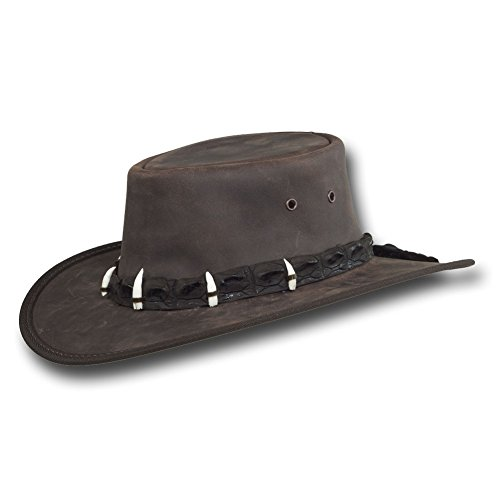 (Barmah Hats Outback Crocodile Leather Hat 1033BL/1033BR - Dark Brown - Large)