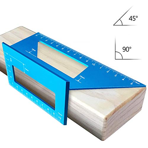 Angle Marking Gauge - Woodworking Ruler - Welding Angle Miter Marking Gauge - Aluminum Alloy Square Layout Miter Triangle Rafter 45 and 90 Degree Metric Gauge for Three-Dimensional Marks (Blue) ()