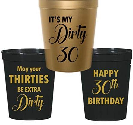 Amazon.com: Dirty 30 cumpleaños Estadio vasos de plástico ...