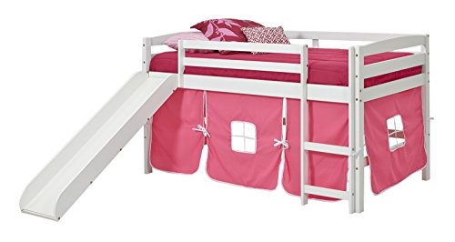 Woodcrest Pine Bed (Woodcrest ST-4700P White Wood Finish Tent Bed with Slide, Twin, Pink)