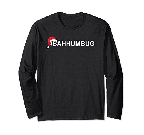 Unisex #Bahhumbug Hashtag Bah Humbug Santa Hat Long Sleeve Shirt 2XL Black