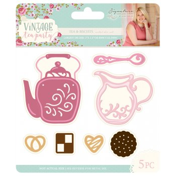 - Crafter's Companion Sara Davies Signature Vintage Tea Party Dies-Tea & Biscuits