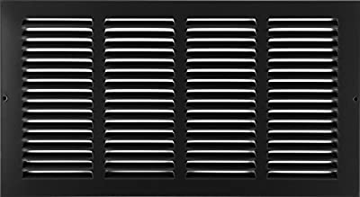 """14"""" X 6"""" Steel Return Air Grilles - Sidewall and Ceiling - HVAC Duct Cover - Black [Outer Dimensions: 15.75""""w X 7.75""""h]"""