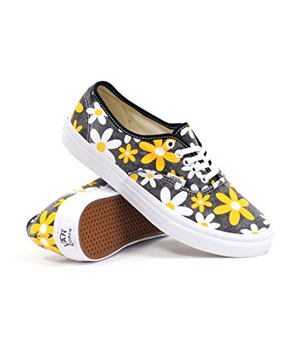 Vans Men's U Authentic Slim Trainers Black-Schwarz Spectra Yellow Daisy Synthetic And Textile Fashion Sneakers 35 EU