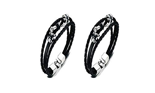 Pack of 2 Men's Braided Leather Fish Hook Nautical Wrap Bracelet Multi Layers Hematite Wristband Black,21cm