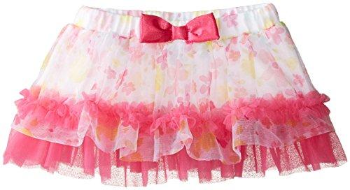 Babystarters Baby-Girls Newborn Floral Print Tutu Skirt, Pink, 3