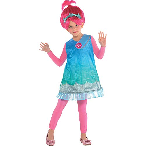 Costumes USA Trolls Poppy Costume for Girls, Size Small, Includes a Dress, a Bright Pink Wig, and Matching Pink -