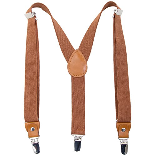 Children Boys and Adults Suspenders - Extra Sturdy Polished Metal Clips Genuine Leather Crosspatch Perfect for Tuxedo (27 inch (3 Years - 9 Years), Brown)