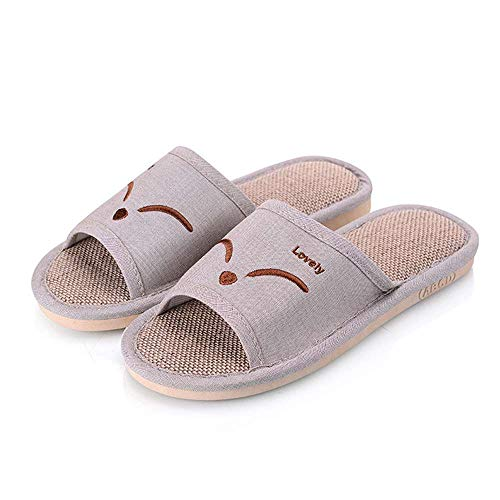 Slides Open Unisex House Cute Slippers 3 Khaki Luobote Linen Men Toe Casual Home Flat Women SwqHT7