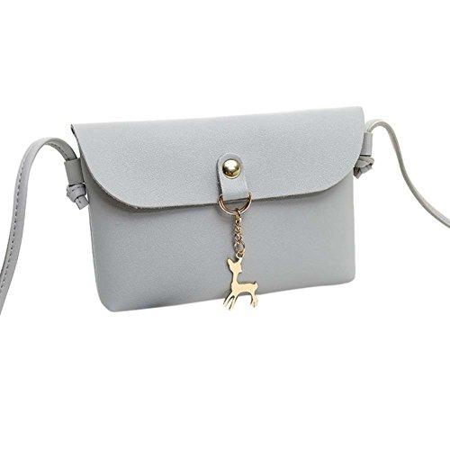 Women's Vintage Small Deer Pendant Leather Crossbody Messenger Bag Shoulder Bag (Gray)