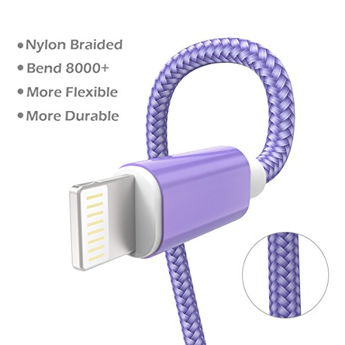 KidKer 4 Pack Lightning iPhone Charger Cables 3ft 3ft 6ft 10ft USB Chagring Certified Nylon Braided Cord Short for iPhone 7 Plus 6S 6 5 5S 5C SE iPad Pro Air Mini 2 3 4 iPod Touch (Purple ( 4 Pack )) by KidKer (Image #2)