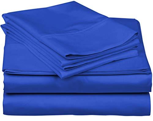- True Luxury 1000-Thread-Count 100% Egyptian Cotton Bed Sheets, 4-Pc California King Royal Egyptian Blue Sheet Set, Single Ply Long-Staple Yarns, Sateen Weave, Fits Mattress Upto 18'' Deep Pocket