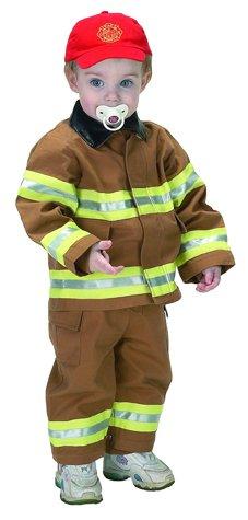 18m Junior Firefighter Suit (Jr Fire Fighter Suit (Tan) w/ Helmet Infant Costume Age 18mo ((DA3)))