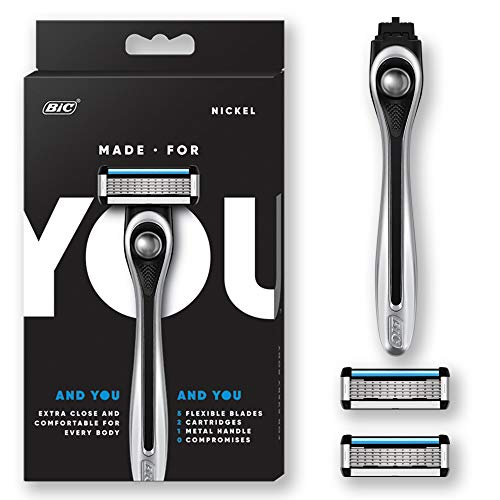 Made For YOU by BIC Shaving Razor Blades for Every Body - Men & Women, with 2 Cartridge Refills - 5-Blade Razors for a Smooth Close Shave & Hair Removal, NICKEL, Kit from Made For You