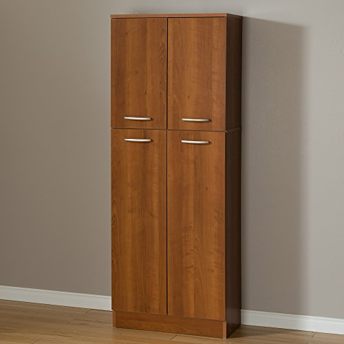 South Shore 4-Door Storage Pantry with Adjustable Shelves, Morgan Cherry