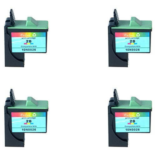10n0026 Cartridge (SuperInk High Yield Lexmark 26 Remanufactured (4 Color) Ink Cartridge 10N0026 #26 Used for Lexmark X1185 X1190 X1195 HY X1155 X1170 X2240 Printer)