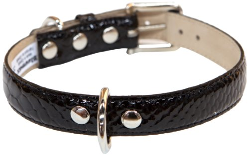 - Bluemax Genuine Leather Patent Snake Dog Collar, 3/4-Inch by 14-Inch, Black