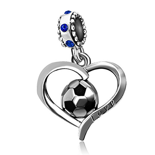 - JMQJewelry Football Heart Charms FIFA World Cup Sport Blue Charms Beads For Bracelets