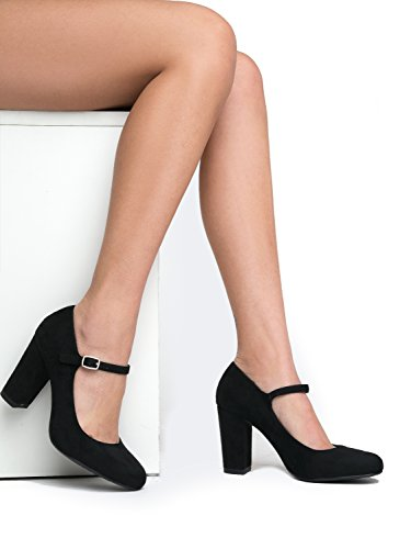 Mary Toe Jane Heels Chunky Comfortable Adams Pumps Black Block Suede Round Skippy Cute J qRCwEcB