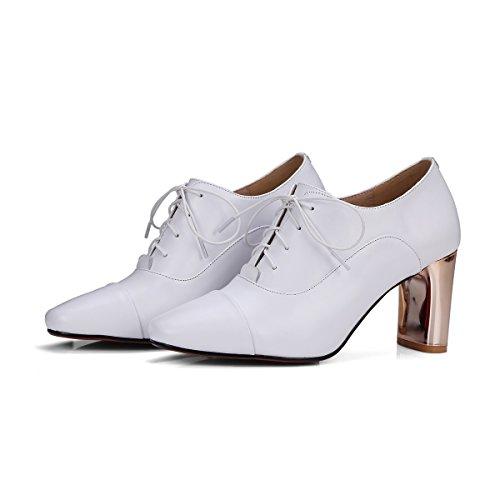 Tacón para Alto Blanco 34 Boca Talla Honda Blanco Profunda 39 Zapatos de Negro Redonda Zapatos Tacón Alto de Cabeza Mujer de ERUtOq
