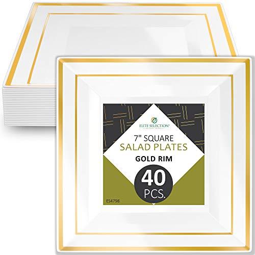 (Disposable Plastic Salad Plates - 40 Pack Hard Round 7