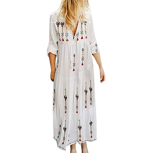 TEVEQ Women Bohe Dress Plus Size V Neck Print Long Sleeve Boho Dress Party Maxi Dress White