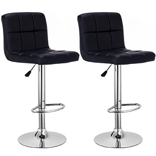 Costway PU Leather Swivel Bar Stools Adjustable Hydraulic Modern Leather Counter Pub Chairs Set of 2 (Black)