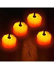 Gidenfly 4 st LED orange pumpalyktor – 3D Halloween flamlösa lampor lykta – batteridrivna värmeljus för halloween dekorationer, för festgåvor dekor åtkomst