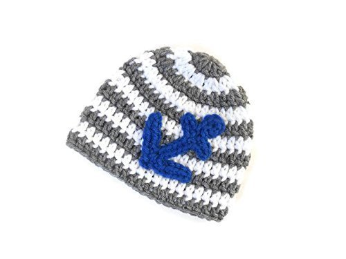 Crochet Baby Hat, Gray and White with Blue Anchor