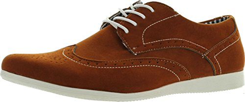 Coronado Mens Casual Shoes Cody-4 Faux Suede Soft Comfort Oxford with A Classic Wing Tip Toe,Camel,10
