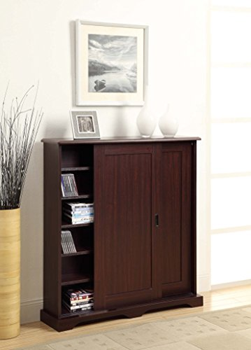 4D Concepts Sliding Door Multimedia Stand, Cherry - 4d Concepts Furniture