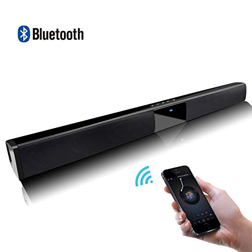 [New 2019 Upgraded] Flytop Wired and Wireless Bluetooth 4.2 Soundbar 22.6-Inch with Subwoofer Home Theater Portable Outdoor Speaker for Phone/Tablet/and TV