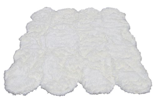 Octo Rugs Sheepskin - Silky Super Soft White Faux Sheepskin Shag Rug Faux Fur | Machine Washable | Great for Photography Decor Bedroom | Real Look Without Harming Animals (Octo Pelt (5'x7'), White)