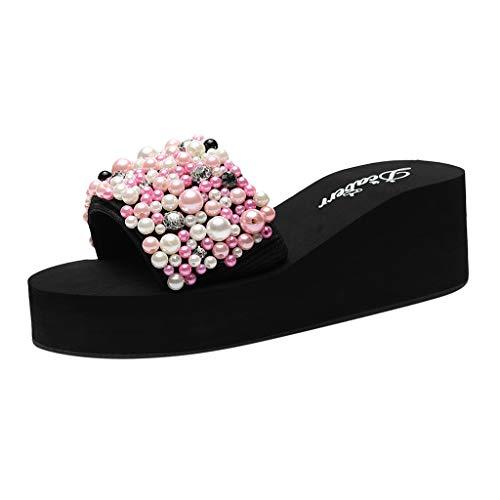 (Respctful ✿Women Boho Non-Slip Slippers Bath Indoor Outdoor Fashion Flower Print Sequin Flip Flops Pink)