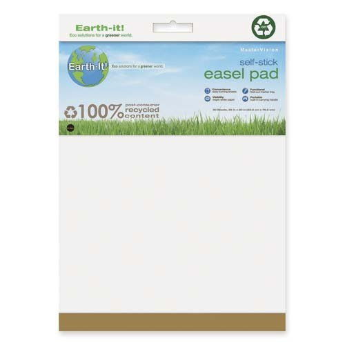 MasterVision Earth Self-Stick Easel Pad, 25x35.5 Inch, White Unlined, 2-Pack (FL1218207)