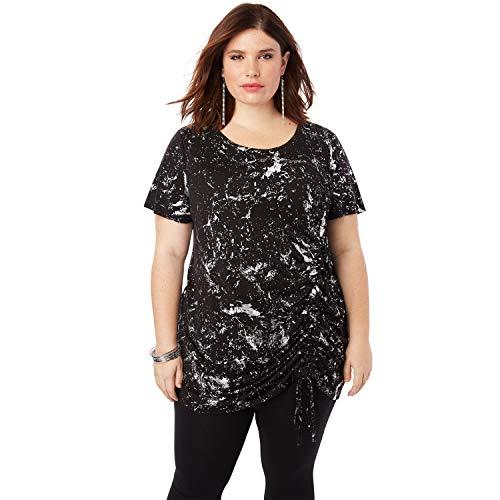 Roamans Women's Plus Size Ruched Drawstring Tunic - Speckle Black Foil Print, 18/20 - Foil Print Top