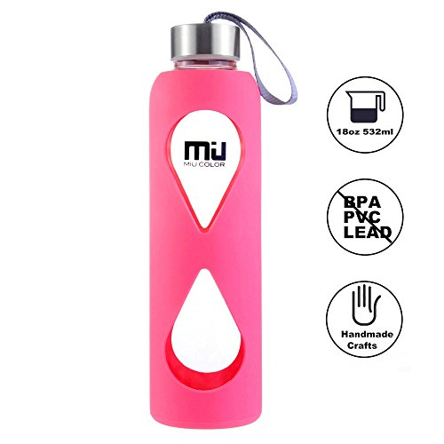 MIU COLOR® 550ml Glasflasche trinkflasche mit Silikonhülle BPA-frei (Rose Rot)