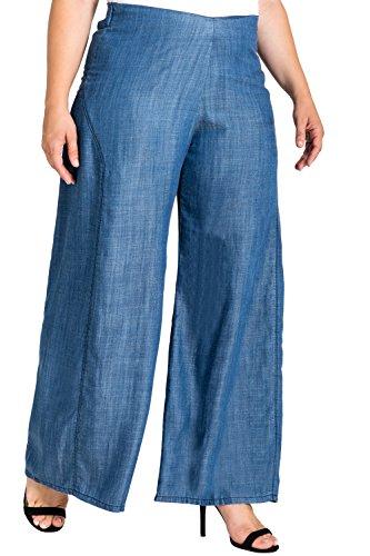 Standards & Practices Plus Size Women's Wide Leg Denim Tencel Palazzo Pants Size ()