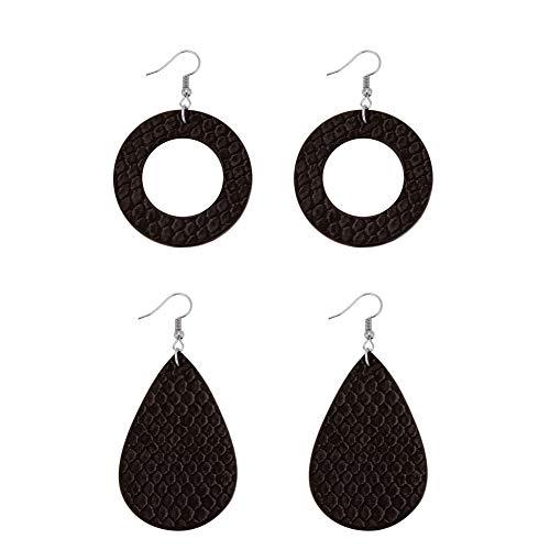 Exweup Leather Earrings for Women Leather Round Earrings Teardrop Earrings Black Oil Side Crocodile Pattern Dangle Earrings for Girls ()