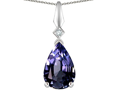 Star K Genuine Iolite Drop Pear Shaped Pendant Necklace 10 kt White Gold ()
