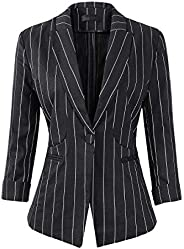 Womens Stripe 3/4 Sleeve Lightweight Office Work Suit Jacket Boyfriend Blazer