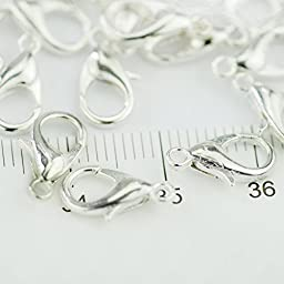 Curved Lobster Clasps-100pcs Silver Plated Lobster Claw Clasps Findings-7x12mm with Kare & Kind Retail Packaging(silver)