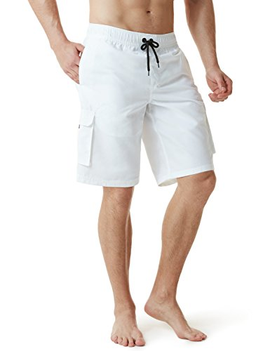 TSLA Men's 11 Inches Swimtrunks Quick Dry Water Beach, Solid(msb01) - White, Large