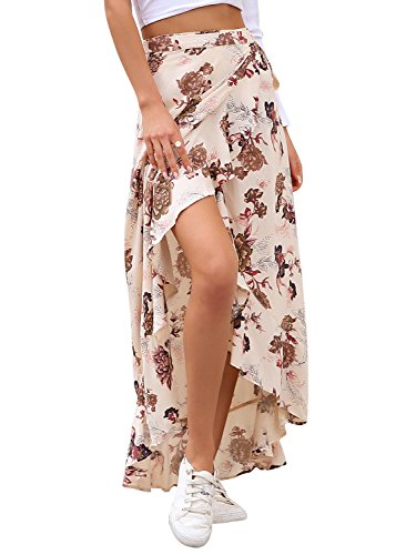 Simplee Women's Summer Maxi Beach Dress Bohemian Wrap Skirt Floral Midi Skirt Beige US 8 - Floral Wrap Skirt