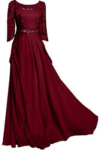 circa Chiffon colletto ball Mezza sera vestito Vivo lungo dell'abito punta Bete amp; Ivydressing Rosso da Manica donna qX1tg